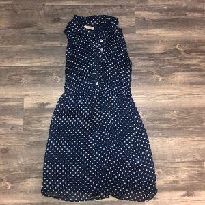 Collared navy polka dot mini dress
